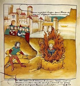 Diebold Schilling d.Ä., Spiezer Chronik (1485): Feuertod des Jan Hus in Konstanz.