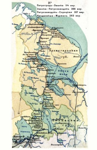 "Eisenbahnlinie Petrograd – Murmansk, 1918. - Quelle: Atlas ""Zhelznyja dorogi Rossii"" 1918, Izdatel'stvo ""Kartografičeskoe zavedenie A. Il'ina"", Wikimedia Commons"