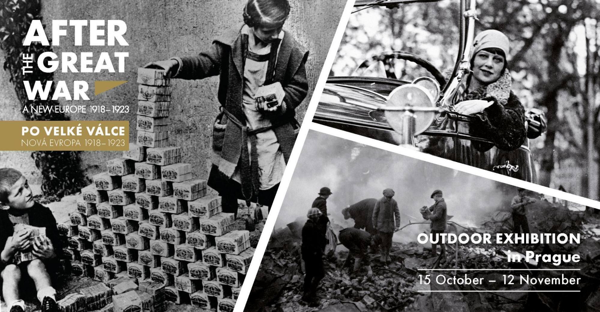Plakat für eine Freilichtausstellung in Prag, die sich der Nachkriegszeit des Ersten Weltkriegs widmet. Die Ausstellung wurde von Experten aus 18 Ländern zusammengestellt und wird anschließend in weiteren europäischen Städten gezeigt. - Plakat: European Network Remembrance and Solidarity